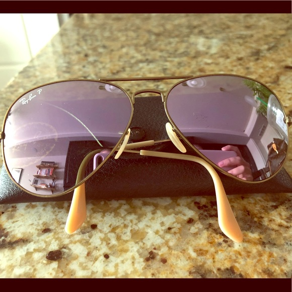 05b49e8fd8371 RayBan Purple Mirror Polarized Aviator Sunglasses.  M 5b6b298d2aa96ab8983d72bb